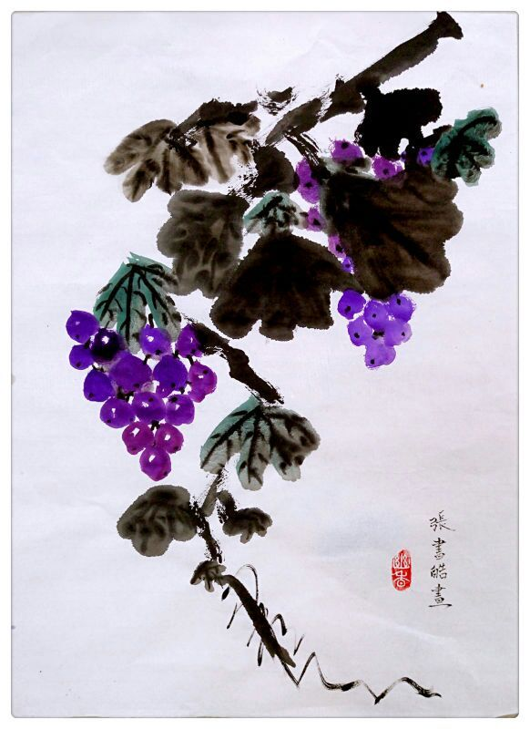 色彩静物写生分解步骤和作品-葡萄